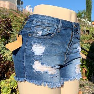 Machine distressed denim shorts frayed hem NEW!